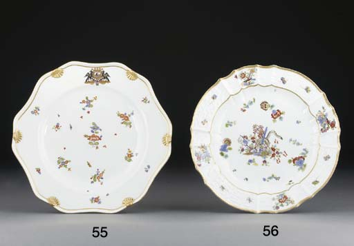 A Meissen armorial hexafoil plate from the Podewils Service