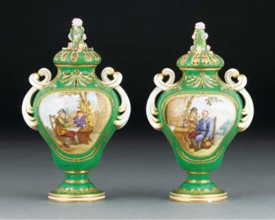 A pair of Sevres green-ground