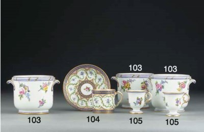 Four Sevres two-handled glass-