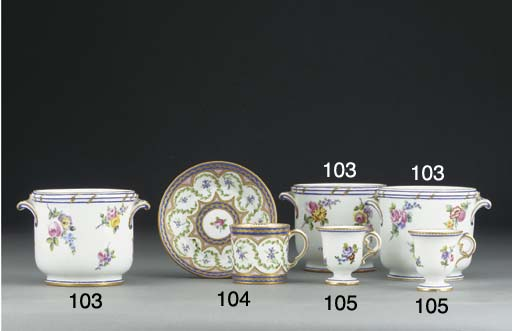 A pair of Sevres ice-cups