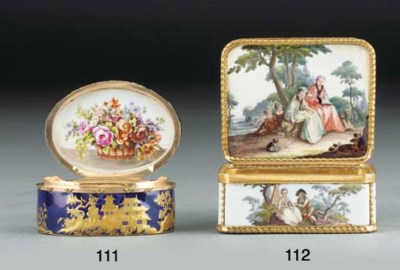 A Meissen gold-mounted rectang