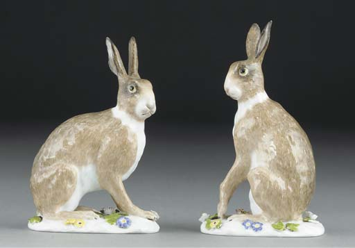 A pair of Meissen hares