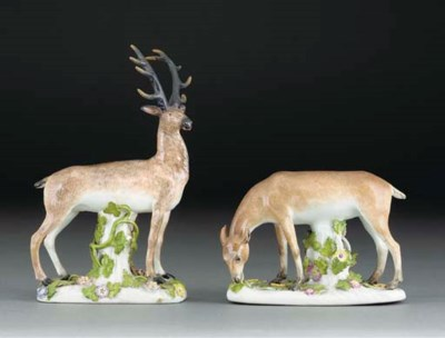 Two Meissen models of deer