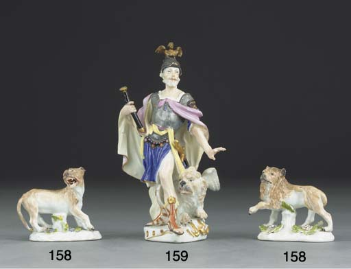 A pair of Meissen lions