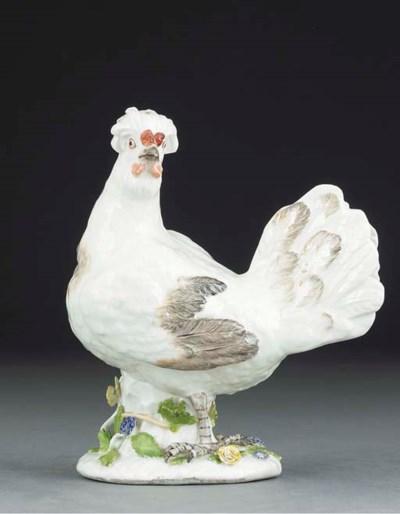 A Meissen model of a hen
