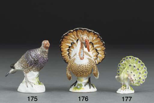 A Meissen model of a turkey-he