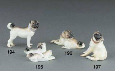 A Meissen group of two pug-dog