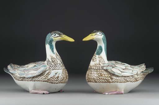 A pair of Kastrup fayence duck