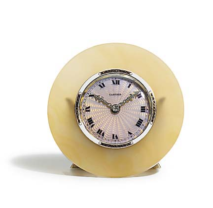 A French gold, silver gilt, enamel and agate desk timepiece