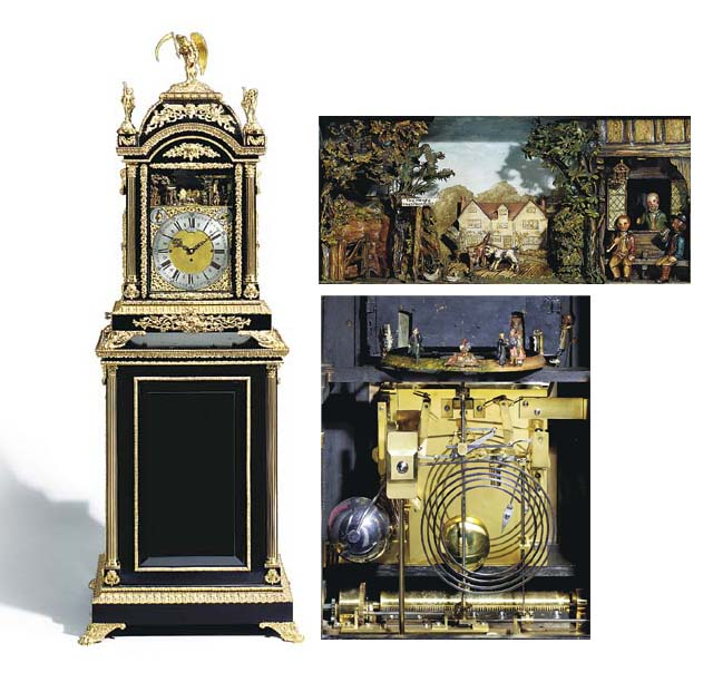 A Victorian gilt-metal mounted ebonised quarter chiming musical automaton clock