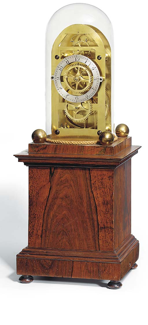 AN UNUSUAL EARLY VICTORIAN ROSEWOOD WEIGHT-DRIVEN SKELETON CLOCK