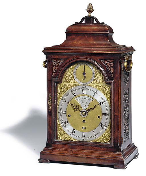 A George III mahogany quarter-striking table clock with alarm and sprung steel pallets