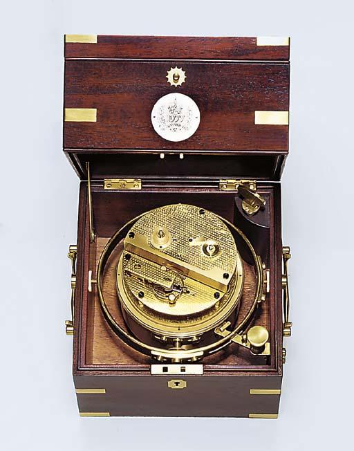 An Elizabeth II brass-bound mahogany eight-day limited edition Silver Jubilee marine chronometer
