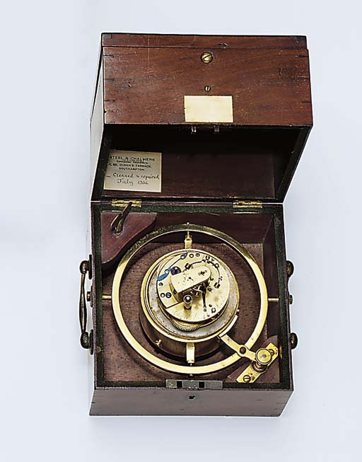 A Regency mahogany one-day marine chronometer with Z balance