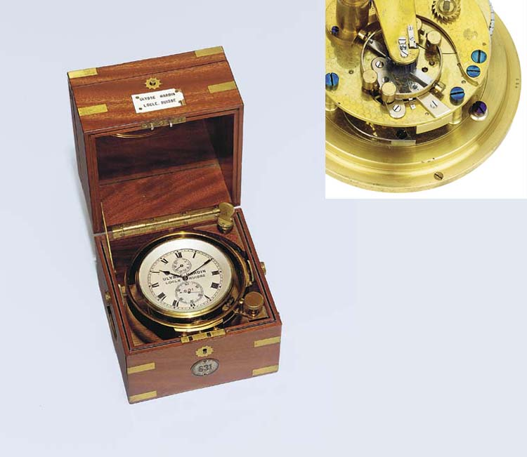 A rare Swiss mahogany cased experimental two-day marine chronometer with pivoted detent escapement
