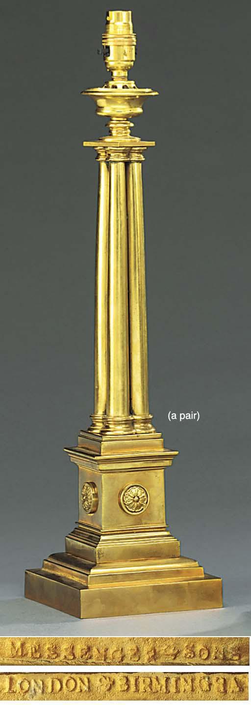 A PAIR OF REGENCY BRASS LAMP B