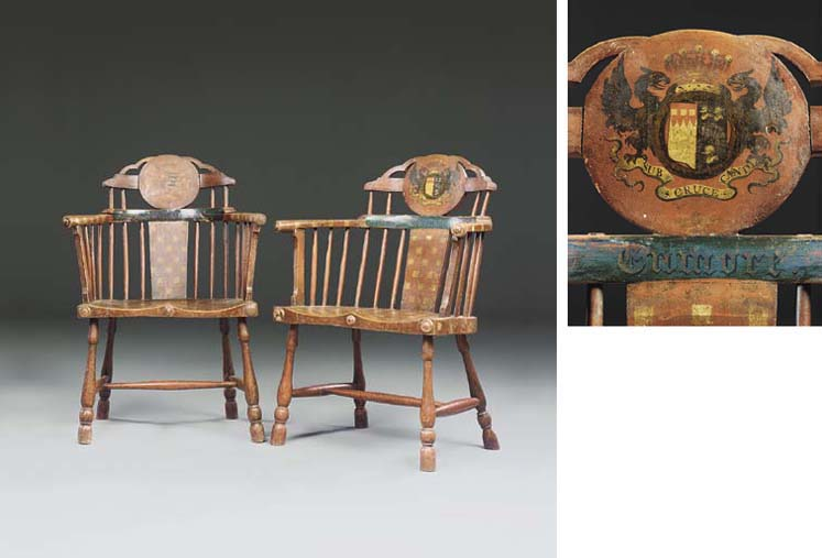 A PAIR OF GEORGE III RED AND P