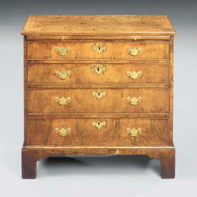 A GEORGE II WALNUT SMALL CHEST