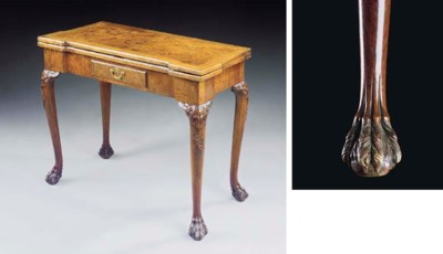 A GEORGE II WALNUT TEA-TABLE