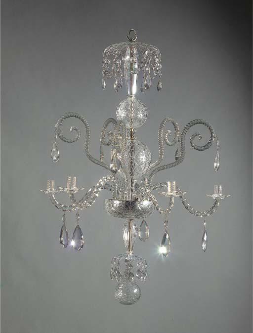 A CUT-GLASS FIVE-LIGHT CHANDEL