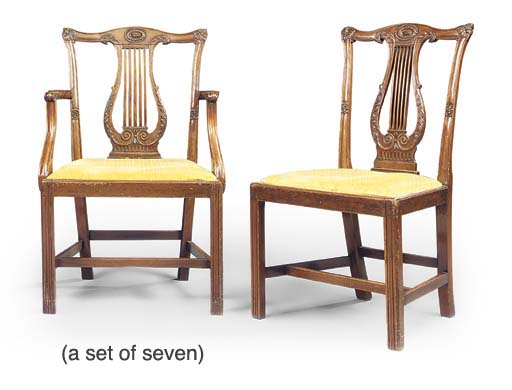A SET OF SEVEN MAHOGANY DINING-CHAIRS