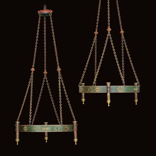 A PAIR OF GOTHIC BRASS-MOUNTED