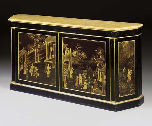 AN EBONISED AND PARCEL-GILT SI