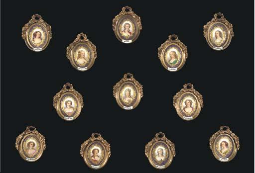 A set of twelve giltmetal-fram