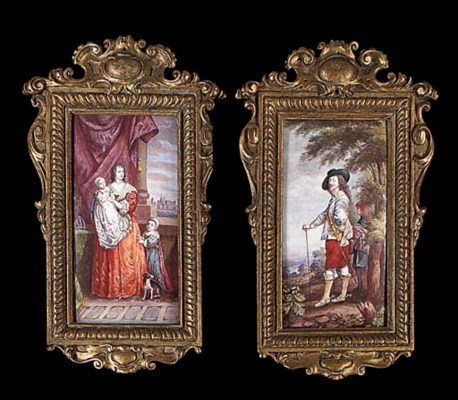 A pair of French enamel on cop