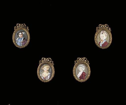 A set of four French enamel on