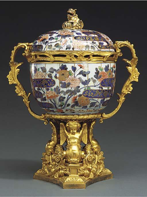 An ormolu-mounted Imari porcel