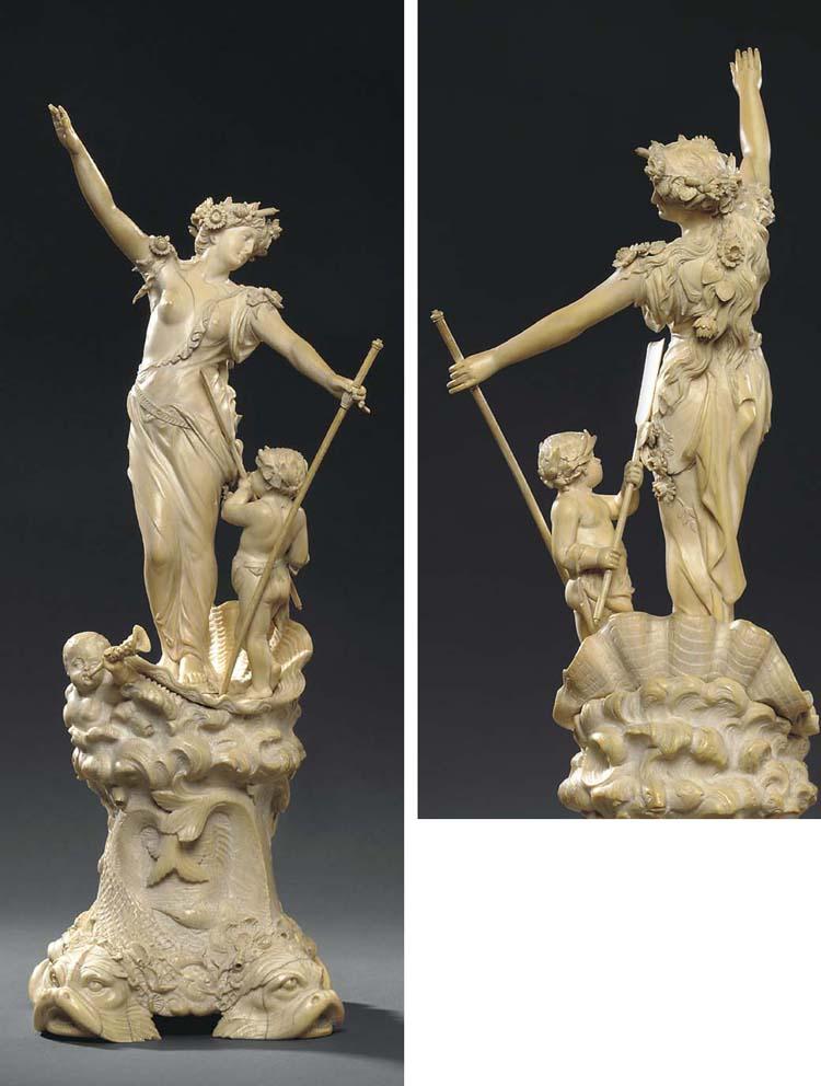 A fine German carved ivory fig