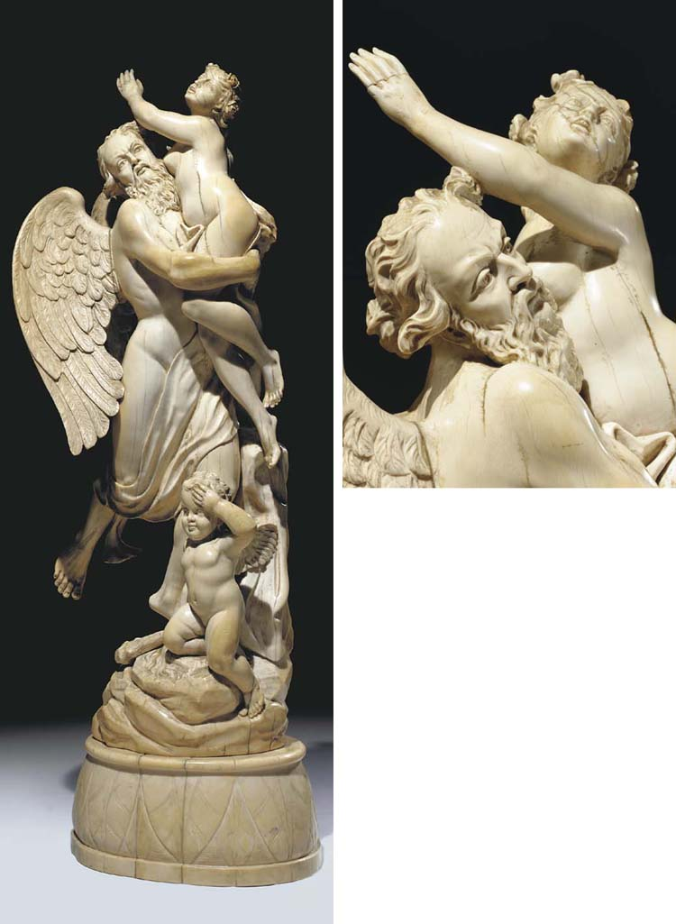 A German carved ivory group of