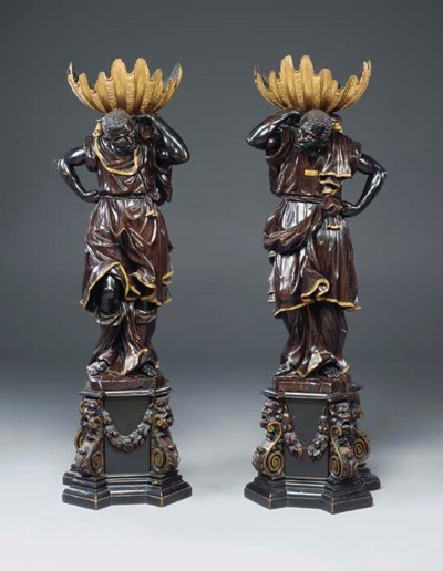 A pair of Italian parcel-gilt