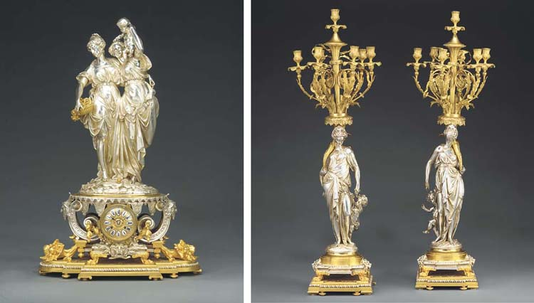 A fine French ormolu and silve