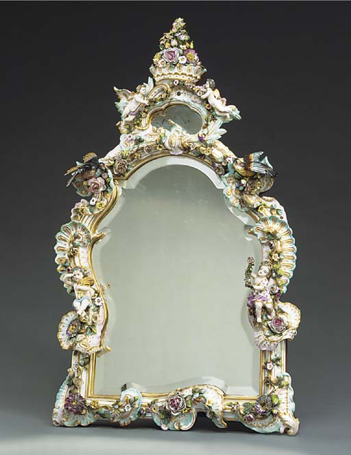 A Dresden porcelain flower-enc
