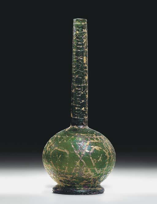 A WHEEL-CUT EMERALD-GREEN GLAS