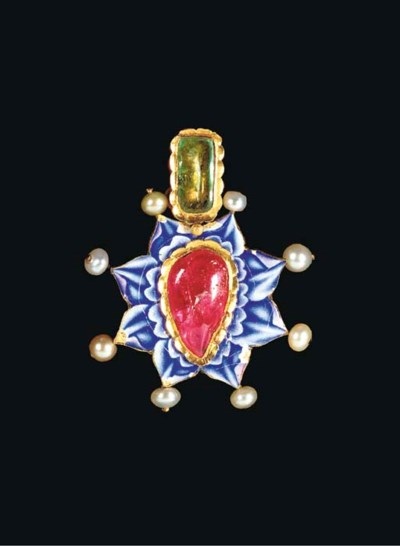 A QAJAR ENAMELLED AND INSET GO