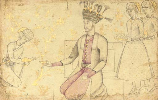 A SAFAVID TINTED DRAWING