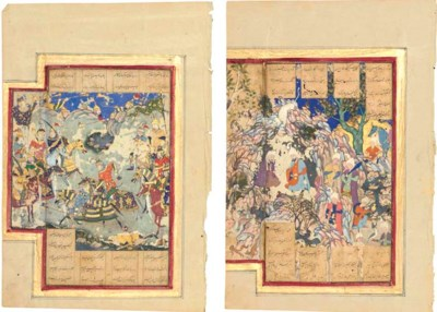 TWO MINIATURES FROM A SHAHNAMA