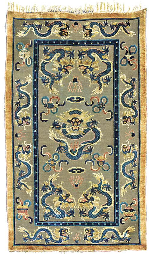 A CHINESE SILK AND METAL-THREA