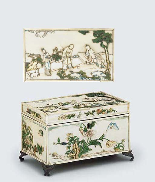 A RARE PAINTED IVORY TEA-CADDY