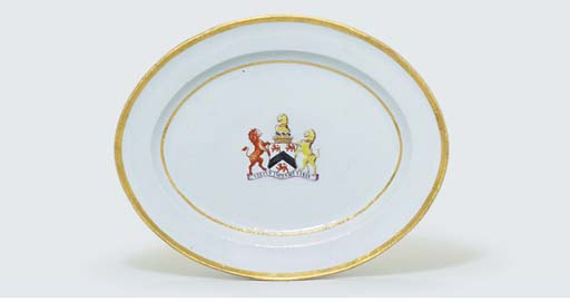 A FAMILLE ROSE ARMORIAL OVAL D