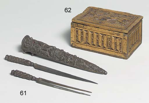 AN IRON SCABBARD WITH FORK AND