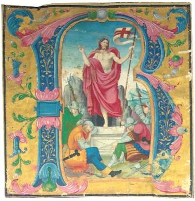 RESURRECTION, historiated init