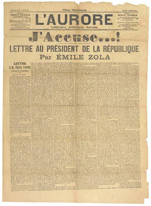 ZOLA, Emile (1840-1902). 'J'ac