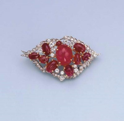 A RUBY AND DIAMOND BROOCH/PEND