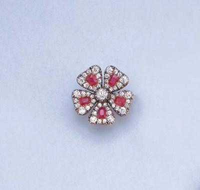 AN ANTIQUE RUBY AND DIAMOND FL