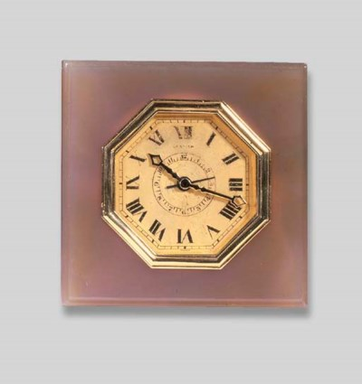 AN ART DECO AGATE ALARM CLOCK,