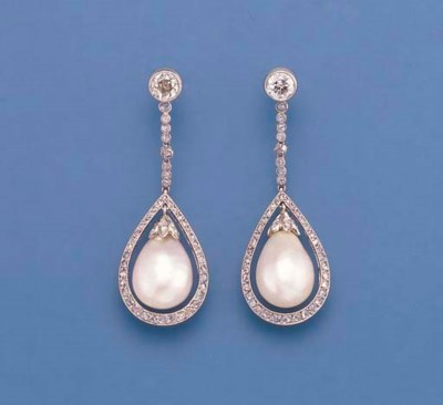 A PAIR OF BELLE EPOQUE PEARL A